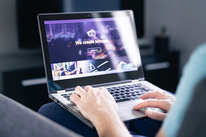 Man working on web page development